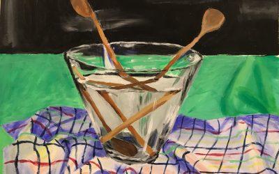 Slika 13 Sara Hutar, Pogled v kuhinjo, akril na papir, 50 x 70 cm, Slikarstvo I